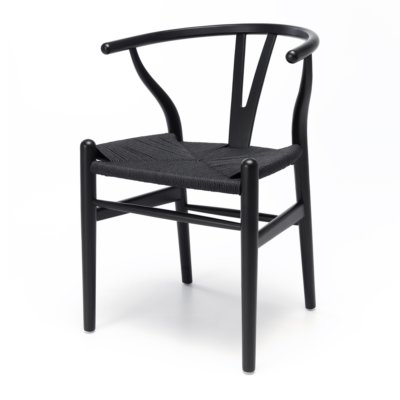 wishbone black oak dining chair