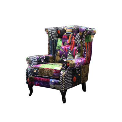 PATCHWORK LOVESEAT WINGBACK CHAIR