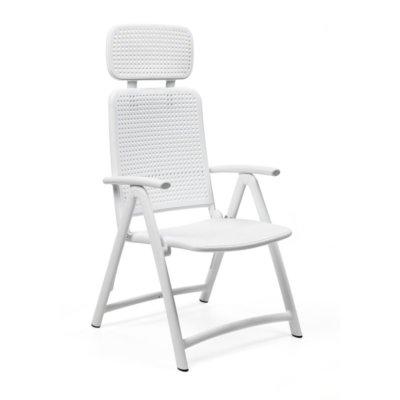 Aqua outdoor recliner chair white