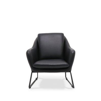 workshop black leather armchair