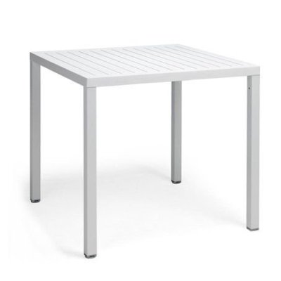 cube white outdoor dining table
