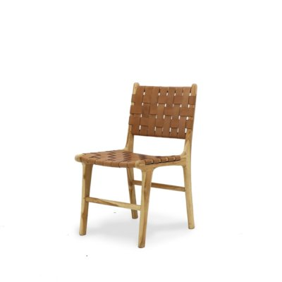 HAYES WEAVE LEATHER TEAK DINING CHAIR