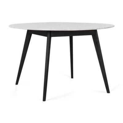 RADIUS MARBLE DINING TABLE WITH BLACK LEGS